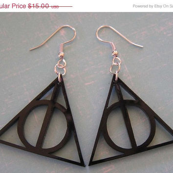 BOGO Blowout Sale Deathly Hallows Harry Potter  Earrings  Black Acrylic FREE SHIPPING
