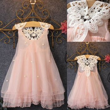 Xmas Chiffon Toddler Baby Girls Party Sleeveless Dress Pearl Lace Tulle Gown Formal Tutu Dress Fancy Backless Dress 3-7Y PINK