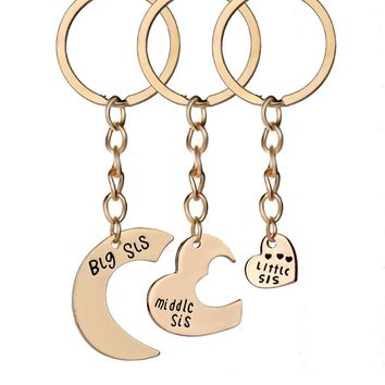 3pcs/set Big Sis Middle Sis Little Sis Keychain Love Heart Sister Key Chain Family Best Friends Jewelry Christmas Gifts chaveiro
