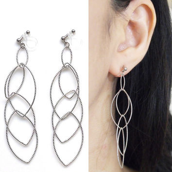 Dangle Silver Hoop Invisible Clip on Earrings, Clip On Hoop Earrings, Non Pierced Earrings, Long Oval Hoop Earrings, Gifts For Women