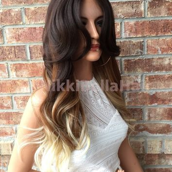 Skyla Ombre Brown Blonde Human Hair Blend Lace Part Wig 22""
