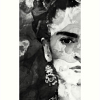'Black And White Frida Kahlo by Sharon Cummings' Art Print by Sharon Cummings