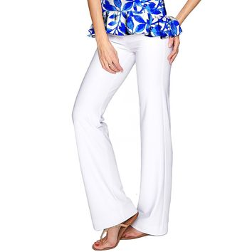 White Amelia Summer Stretch Pull-On Palazzo Pant - Women
