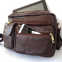 Genuine Natural Leather Wallet Bag Starp Man Waist Pouch Sling Backpack Cellphone Hip Free Shipping !