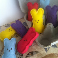 4 Peeps Bunnies Felt Food Easter Candy Dessert Sweets Treasury Feature