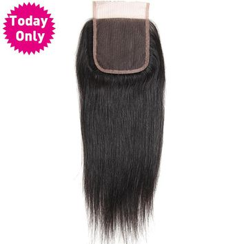 Brazilian Straight Hair Lace Closure With Baby Hair 100% Human Hair Bundles Natural Black Color Non Remy Hair