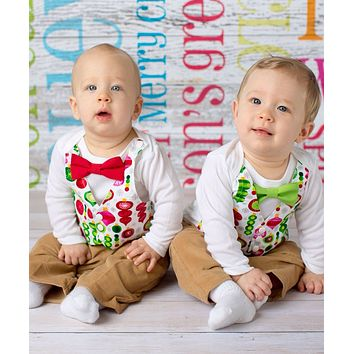 Twin Boy Christmas Outfit with Vest and Bow Tie Brothers