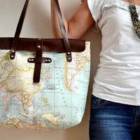World Map Printed Fabric and Leather Tote Bag, Travel Bag
