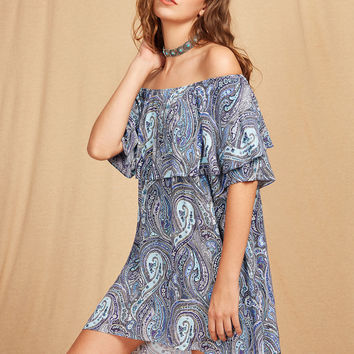 Blue Layered Neckline Tribal Print High Low Dress