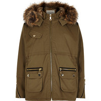 River Island Girls khaki faux fur hooded parka