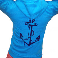 ANCHOR Unisex Flex Fleece Zip NEON Hoodie Hooded Sweatshirt nautical sailing American Apparel