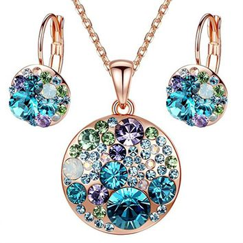 "Crystal Multi-stone Round Disc Pendant Necklace Earrings Jewelry Set, 18"" + 2"" (4 Colors )"