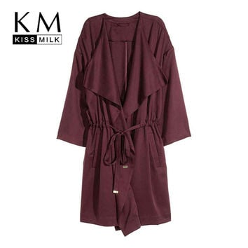 Kissmilk Plus Size New Fashion Women Clothing Casual Long Sleeve Coat Streetwear OL Solid Big Size Trench Coat 3XL 4XL 5XL 6XL