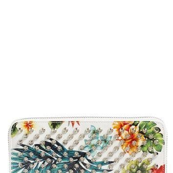 Christian Louboutin 'Panettone' Spiked Floral Print Calfskin Wallet | Nordstrom