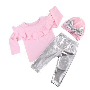 Pudcoco Fashion Toddler Kids Baby Girl Clothes Ruffles Long Sleeve Pink T-shirt Tops+Shinny Legging Pant Hat 3pcs Clothing Set