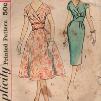 Simplicity 2966 Retro Sewing Pattern 60s Mad Men Style Wiggle Sheath Dress Fit & Flare Skirt V Neckline Bust 38