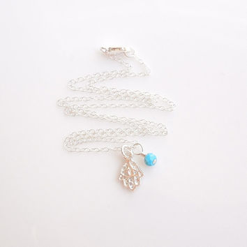 Silver Hamsa Necklace with Turquoise - Hamsa Jewelry