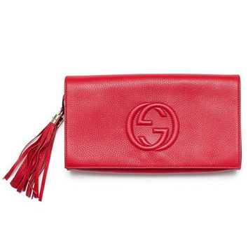 DCCKUG3 Gucci Soho Leather Clutch Envelope Red Bag Tassel Handbag Bag Purse Italy New