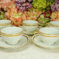 5 Limoges Ceralene Raynaud Marie Antoinette Footed Cups & Saucers ~ White ~ Gold