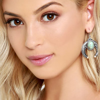 Crescent Country Turquoise and Silver Earrings