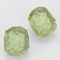 Cluster Crystal Gold Mint Stud Earrings