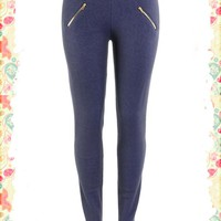 Blue for You Zipper Leggings