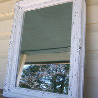 Shabby Chic Chippy White Wall Mirror