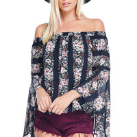 Floral Drama Off Shoulder Top