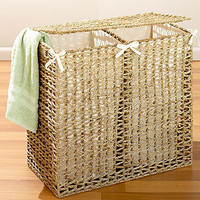 Seagrass Divided Hamper, Natural | Hampers and Laundry Baskets | World Market