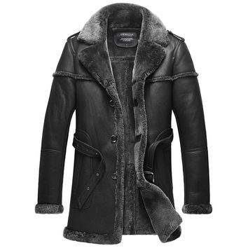 Men's Designer Black Shearling Sheepskin Coat