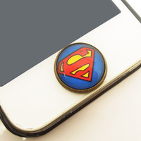 1PC  Super Man Alloy iPhone Home Button Sticker for iPhone 4,4s,4g, iPhone 5, iPad, Cell Phone Charm, Back to School Gift for Boy