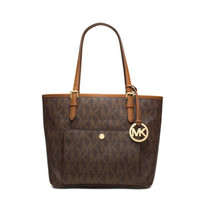 Michael Kors Jet Set Item East West Signature Top Zip Black PVC Tote with Silver Tone Hardware