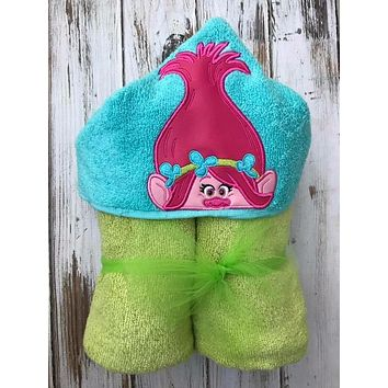 Poppy hooded towel, Troll hooded towel