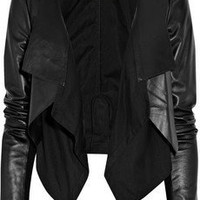 Max Azria | Cotton-paneled leather jacket | NET-A-PORTER.COM