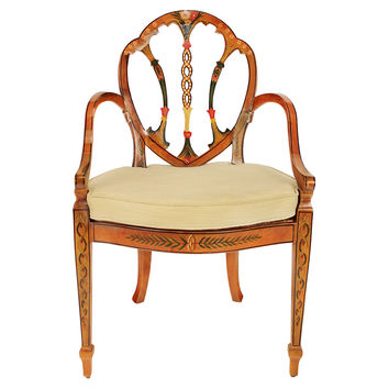 Agostino, Edwardian Hand-Painted Armchair, Oatmeal, Accent & Occasional Chairs