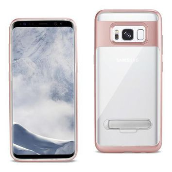 REIKO SAMSUNG GALAXY S8/ SM TRANSPARENT BUMPER CASE WITH KICKSTAND AND MATTE INNER FINISH IN CLEAR ROSE GOLD