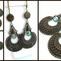 SALE Moonlit In Bronze Celestial Boho Tribal Chic Antique Bronze Czech Glass Moon Face Rainbow Glass Crystals Chandelier Earrings