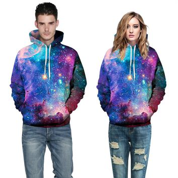 Couple Galaxy Pattern Print Loose Top Sweater Pullover Hoodie