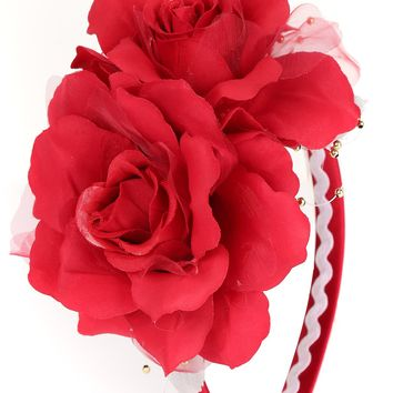 Girls Red Organza & Satin Double Flower Headband