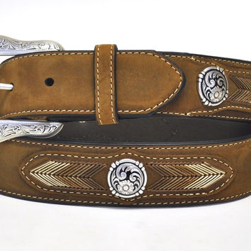 Nocona Men's Western Concho String Lace Leather Belt-Brown