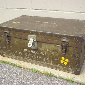 Vintage WWII Military MARINE Footlocker Steamer Storage Trunk - Industrial Coffee Table Equipment Chest Original Wood Tray - GI Green ww2