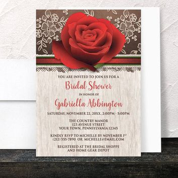 Rustic Rose Bridal Shower Invitations - Wood and Lace on Brown - Red Rose Floral design - Printed Invitations