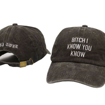 Rihanna Hat Bitch I know you know letter Dad Hat Anti Tour Baseball Cap Hip Hop Women Men Adjustable Strapback Trucker Hat Bob Gray