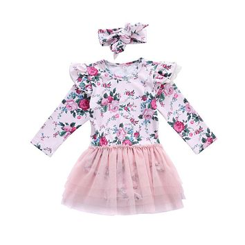 Toddler Infant Baby Girls Mesh Print Dress Floral Winter Long Sleeve Kids Girl Ruffle Party Dress Outfit