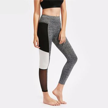 Mesh Insert Color Block Marled Knit Leggings Workout Clothes