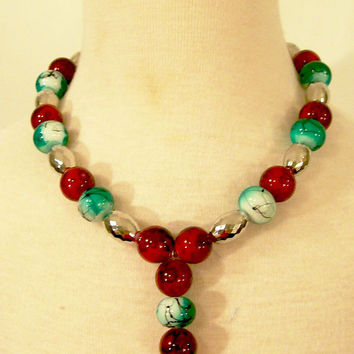 Girls Christmas-Red and Green and Silver Necklace-Girl-Children--#344