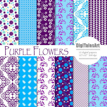 "Floral digital paper ""Purple Flowers"" flower digital clip art papers in purple, blue, patterns, download, floral background"