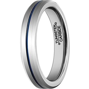 4mm Thin Blue Line Plated Tungsten Carbide Ring Wedding Band (Platinum)