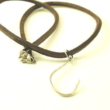 Fish Hook Necklace - Brown Leather Necklace - Men Leather Necklace - Free Shipping to the USA