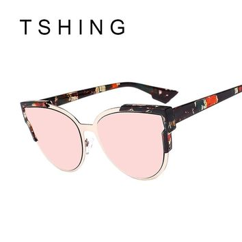 TSHING Brand Designer Cat Eye Sunglasses Women Vintage Rose Gold Mirror Sun Glasses New Fashion Half Frame Cateye Sunglass UV400